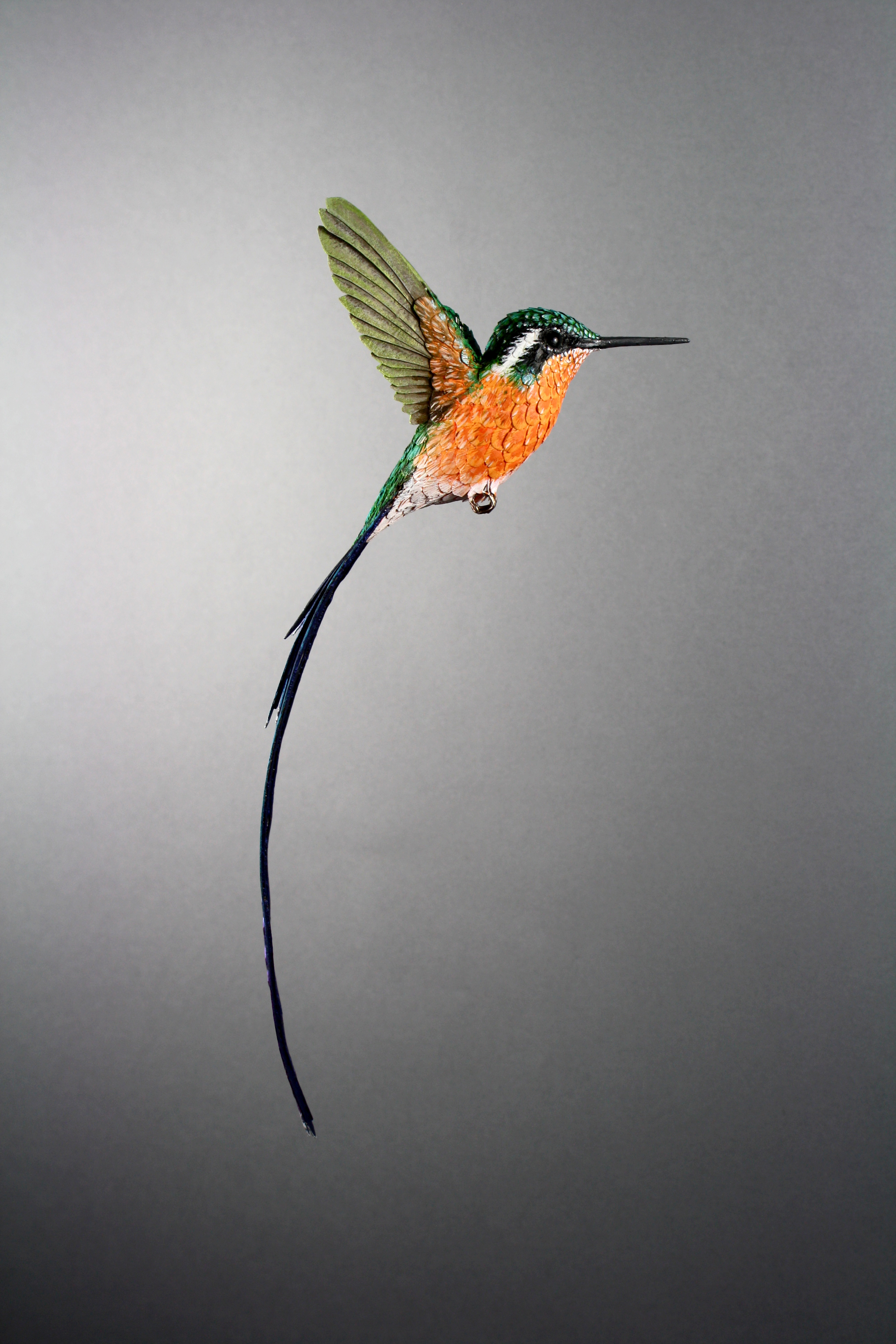 paper-and-wood-purplethroated-long-tailed-hummingbird-sculpture