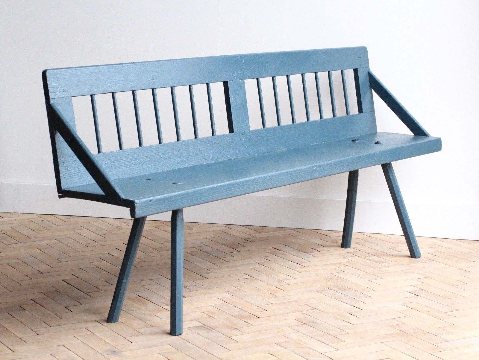 vintage-folky-wooden-blue-painted-garden-bench