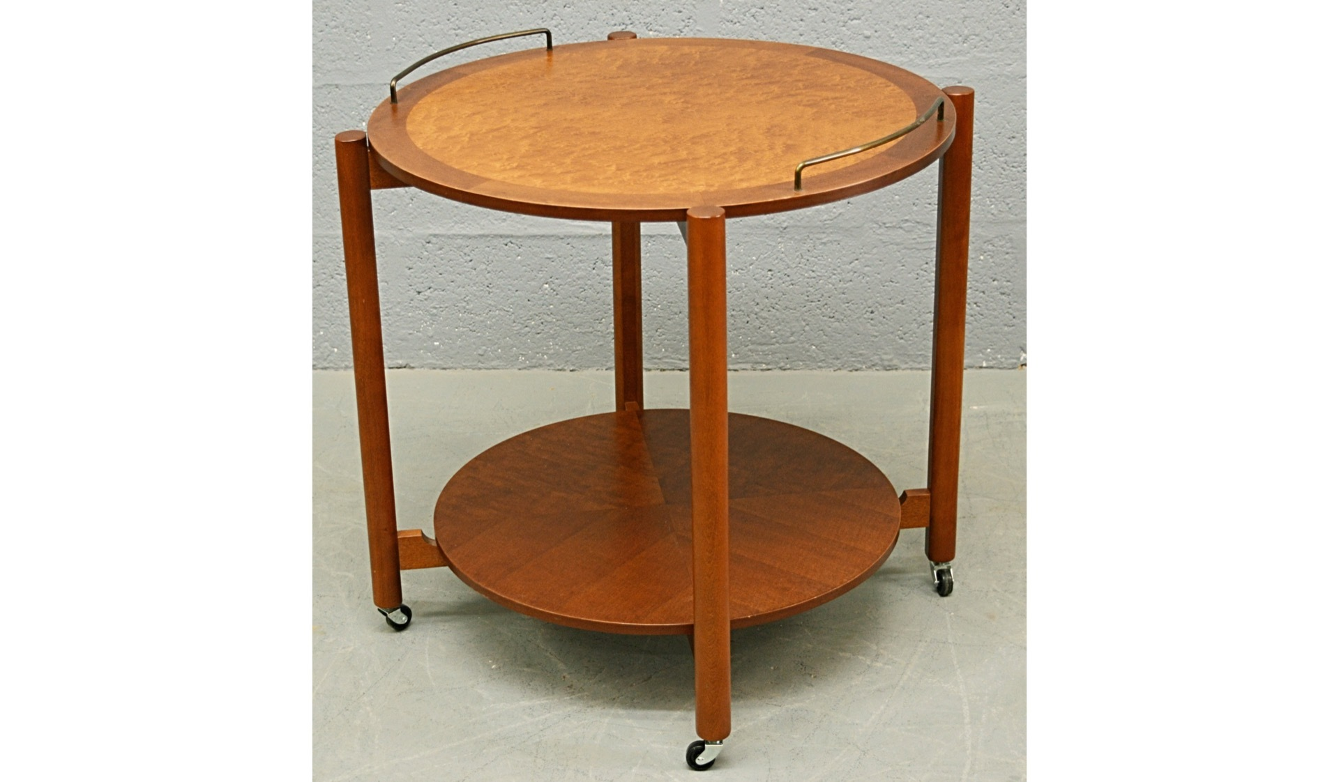 mid-century-1960-s-teak-and-bird-s-eye-maple-circular-drinks-trolley