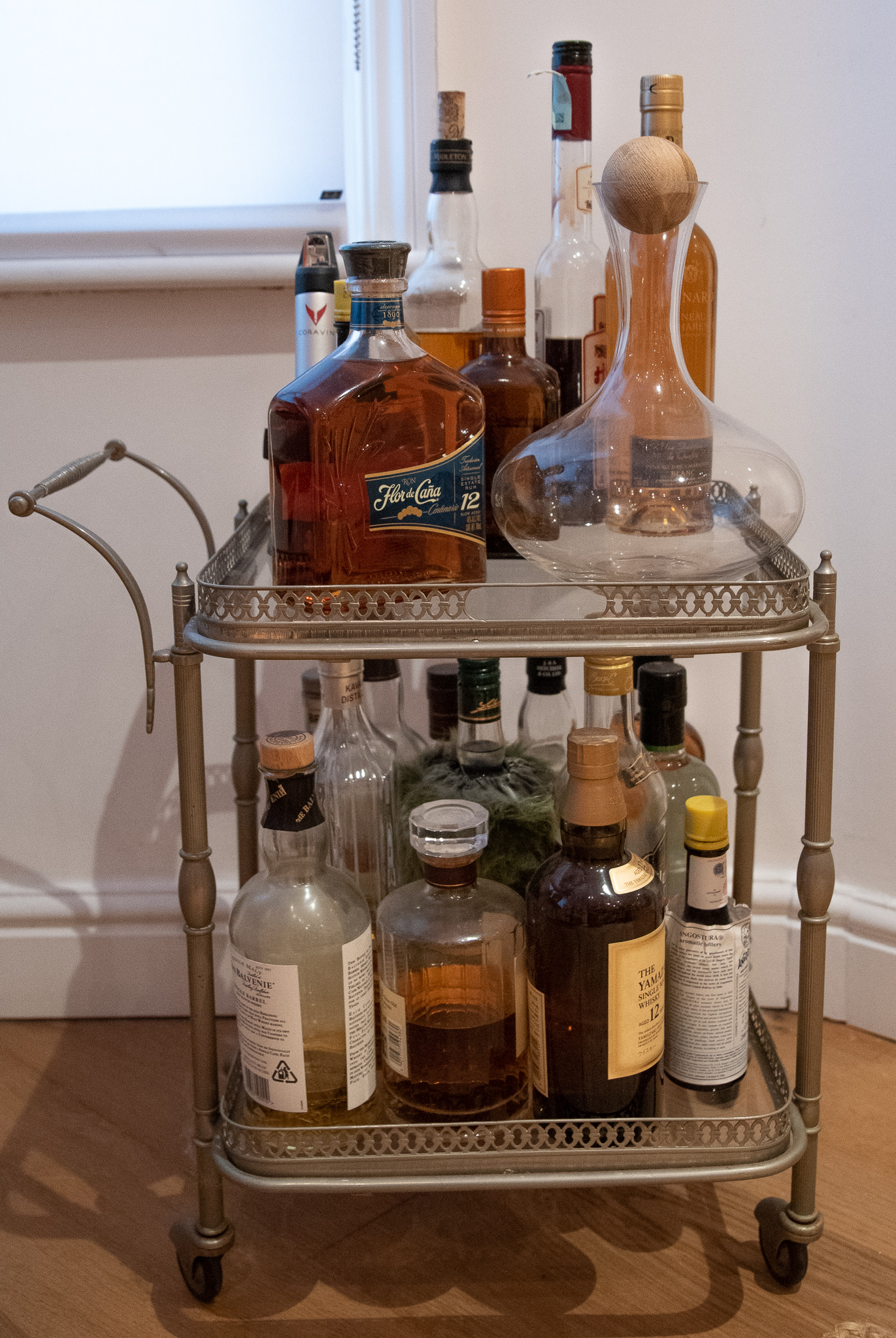 vintage retro brass drinks trolley