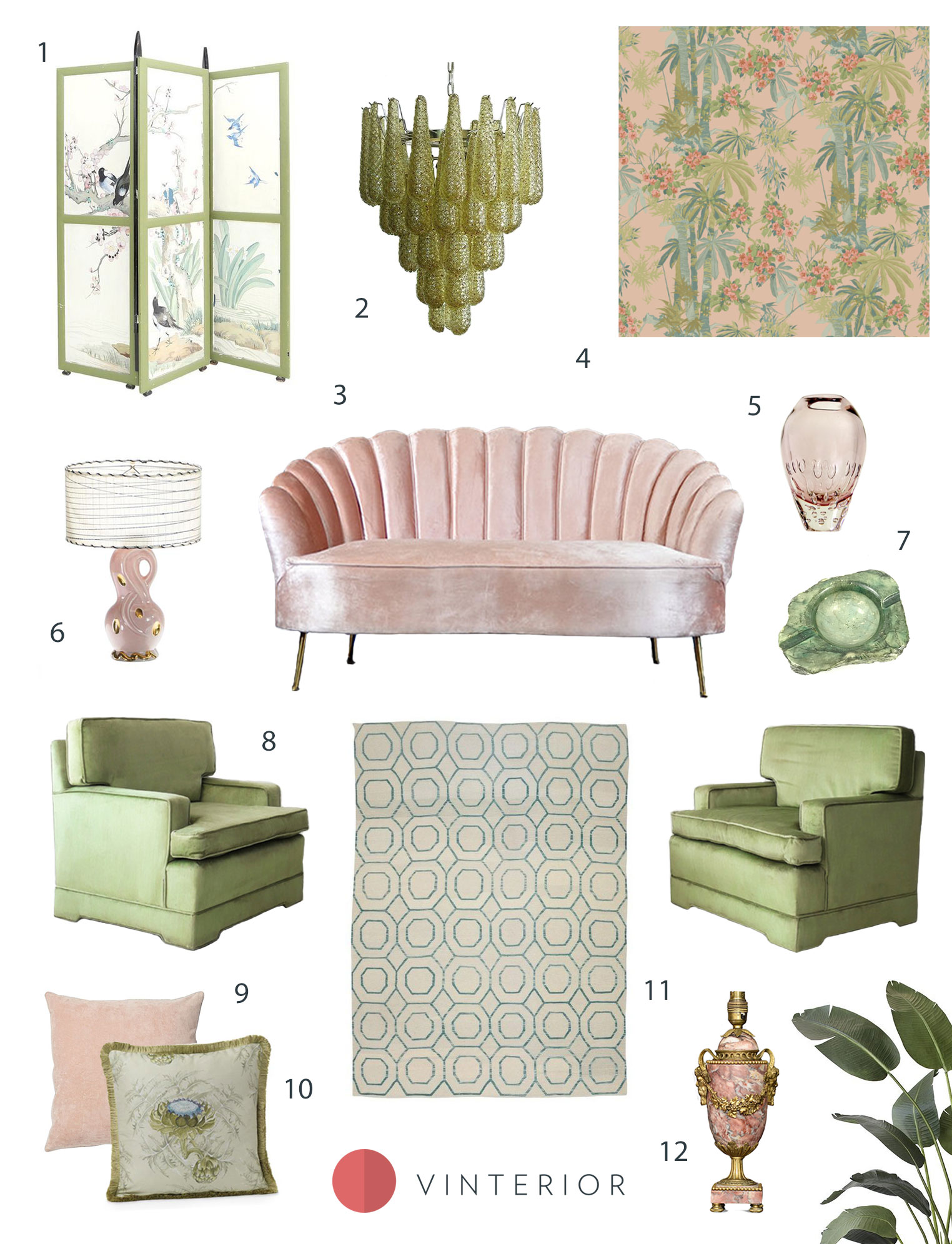 Spring Edit: Inspiration for Mixing Pink and Green - Vinterior