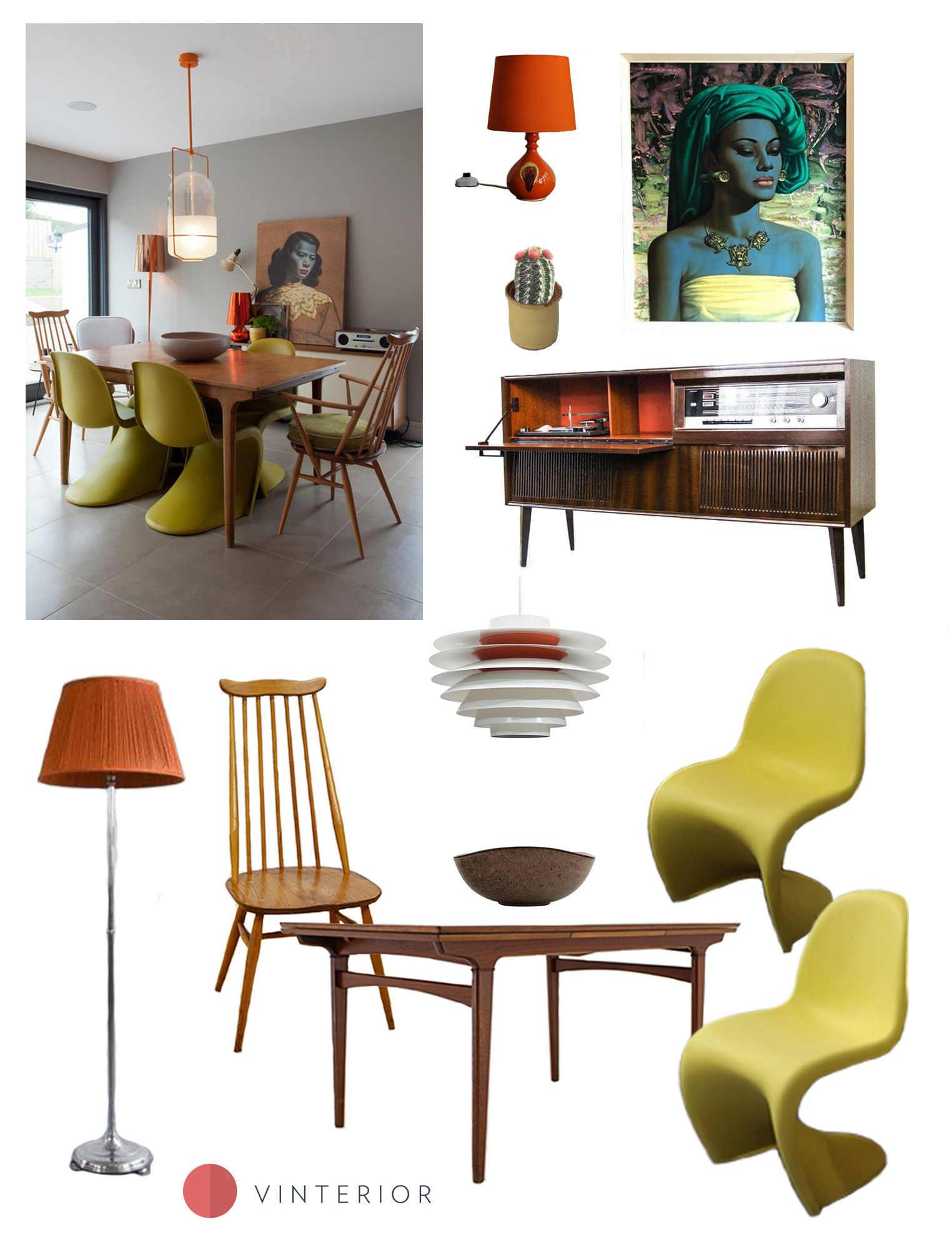 Get the Look: Mid-century Modern dining room in Orange and Green - Vinterior