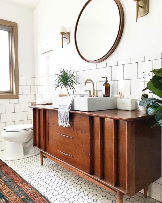 bathroom repurposed vintage sideboard