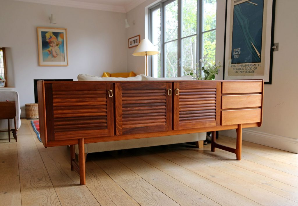 sideboard vintage danish scandinavian mid century teak highboard storage unit